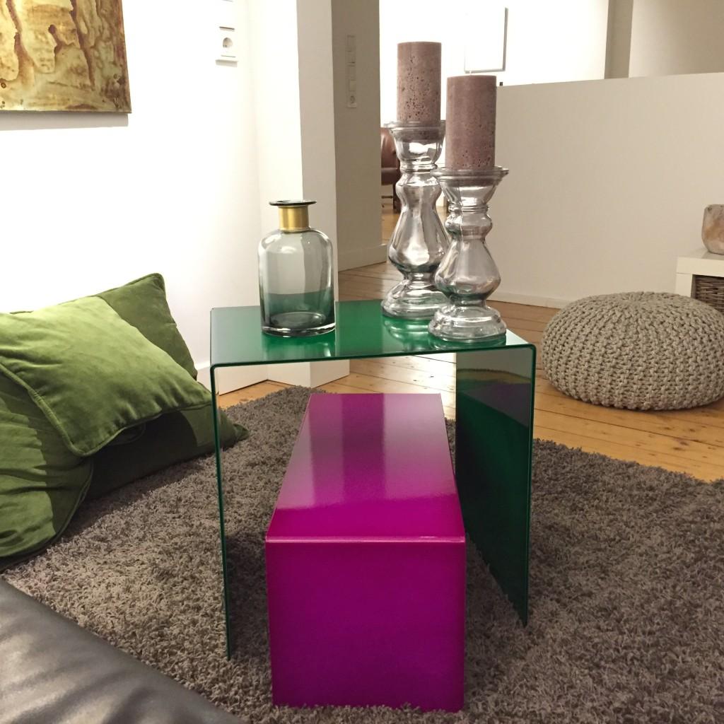 Tische Lasur grün und purpur 1